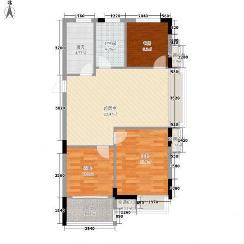 祥盛明湖湾3室0厅1卫1厨88.00㎡户型图