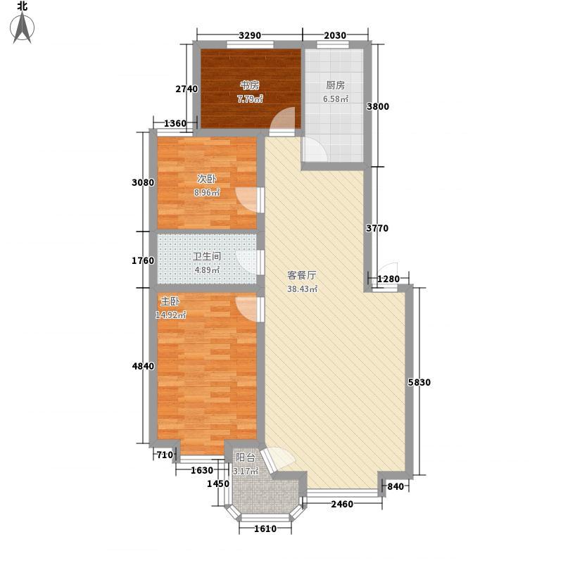 孔雀湖花园121.50㎡A户型3室2厅1卫1厨