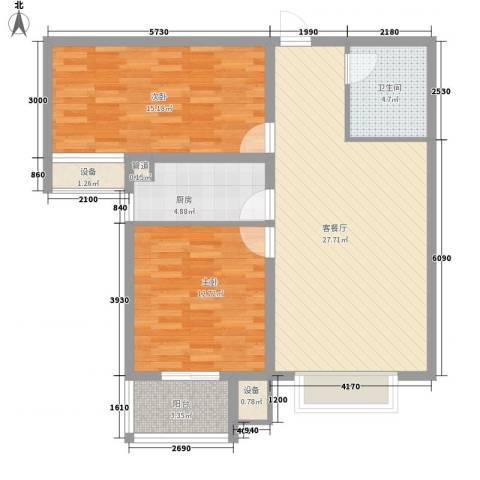 升达置地广场2室1厅1卫1厨70.73㎡户型图