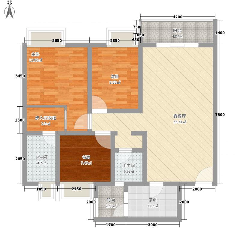 金枝御林15.82㎡7-8#E户型2室1厅2卫1厨
