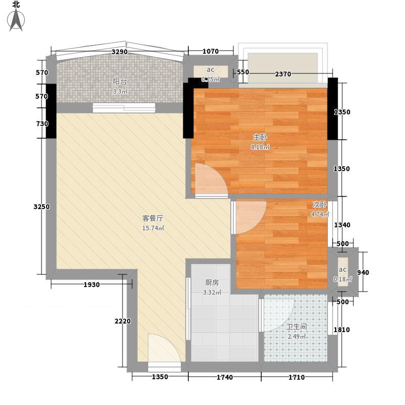 百分百公寓户型图2房1厅1卫 2室1厅1卫1厨