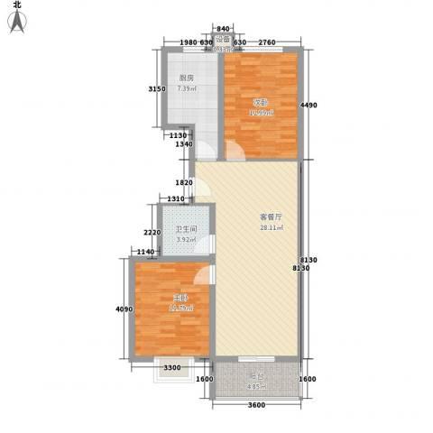 升达置地广场2室1厅1卫1厨69.36㎡户型图