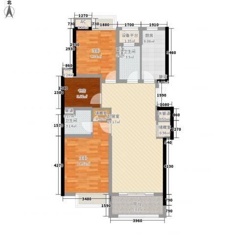 蓝庭国际3室0厅2卫1厨118.00㎡户型图