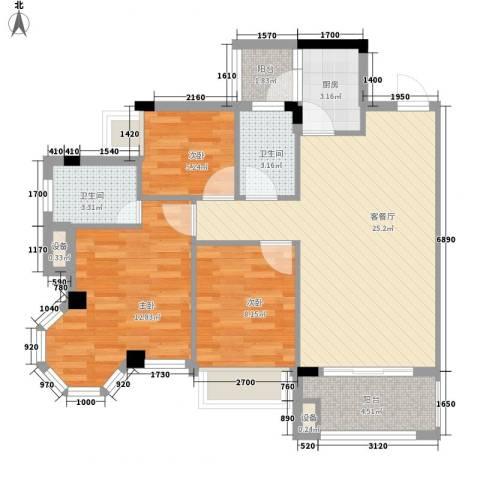 风度广场3室1厅2卫1厨67.94㎡户型图