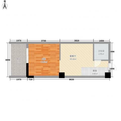 立欣东方新城1厅1卫0厨55.00㎡户型图
