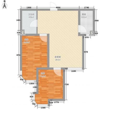东北明珠2室0厅1卫1厨71.00㎡户型图
