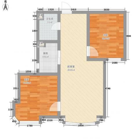 东北明珠2室0厅1卫1厨79.00㎡户型图