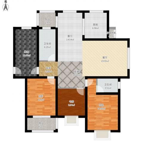 锦绣花园3室1厅2卫1厨170.00㎡户型图