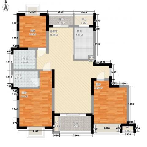 富建洲际逸品3室1厅2卫1厨89.81㎡户型图