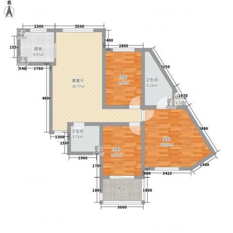 嘉华国际3室1厅2卫1厨80.31㎡户型图