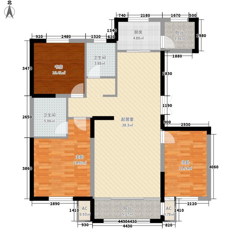 中房粹园13.00㎡D户型3室2厅2卫1厨