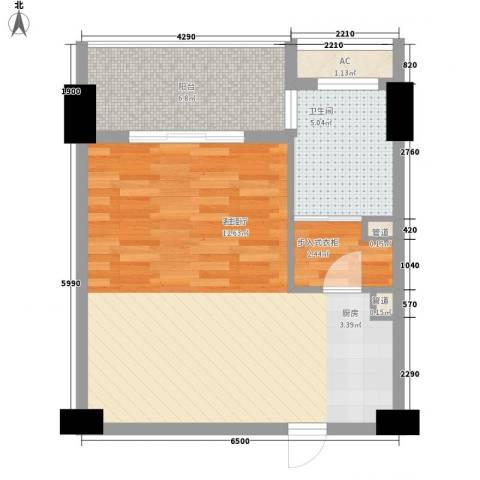 三亚湾红树林度假世界1厅1卫0厨59.00㎡户型图