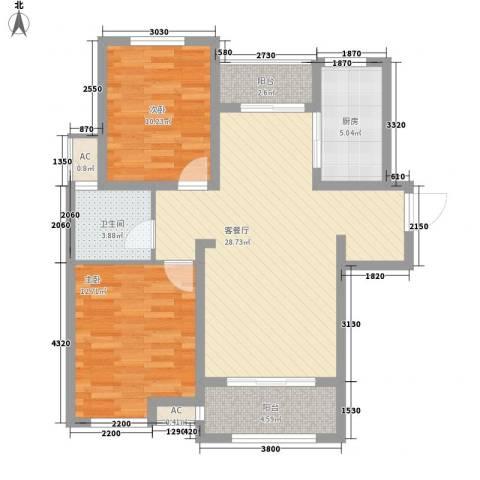 绿地滨湖国际花都2室1厅1卫1厨95.00㎡户型图
