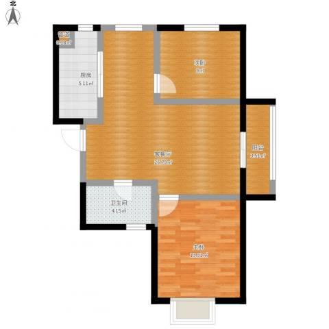 万象春天2室1厅1卫1厨90.00㎡户型图