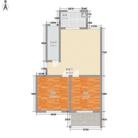 时代新城2室1厅1卫1厨107.00㎡户型图