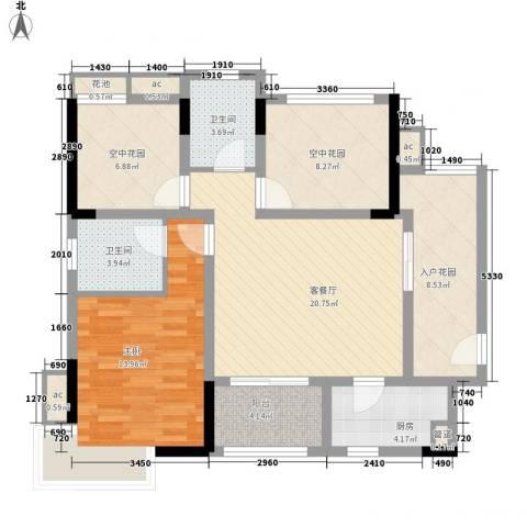招商花园城1室1厅2卫1厨76.62㎡户型图
