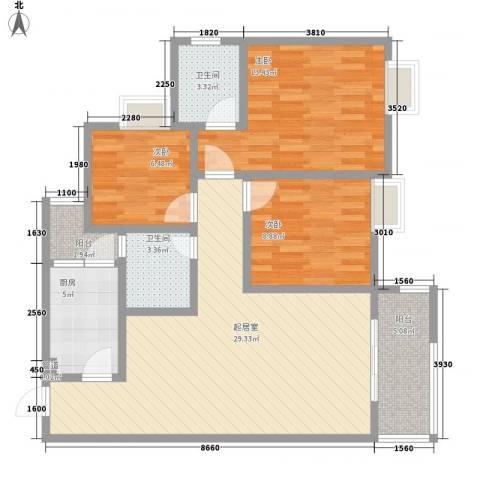 申烨太阳城三期3室0厅2卫1厨110.00㎡户型图