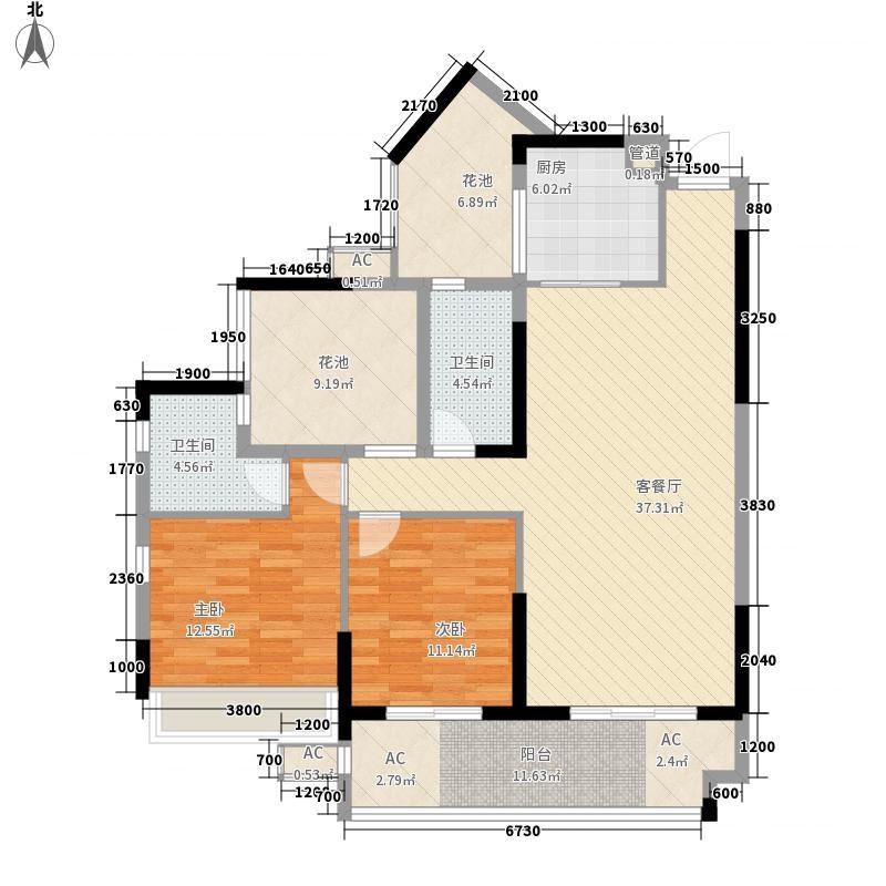 领地亚马逊二期14.40㎡D户型3室2厅2卫1厨