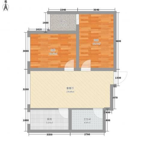 善上居2室1厅1卫1厨54.24㎡户型图