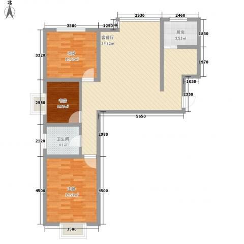 西岸国际3室1厅1卫1厨109.00㎡户型图