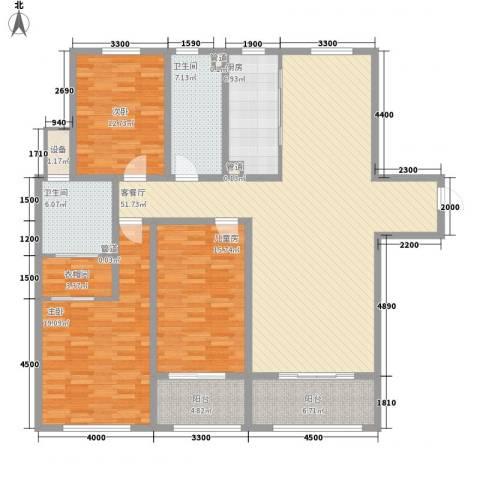 华创观礼中心3室1厅2卫1厨135.74㎡户型图
