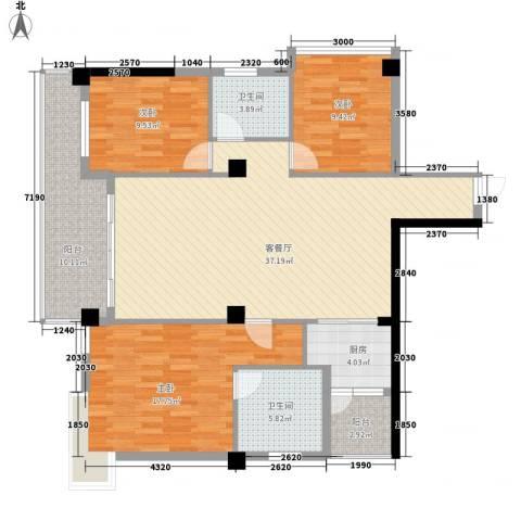 版纳一品3室1厅2卫1厨141.00㎡户型图