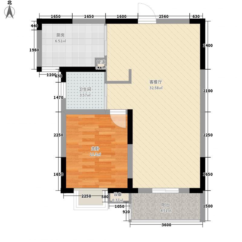 南湖春城76.00㎡64-65#B户型1室2厅1卫1厨