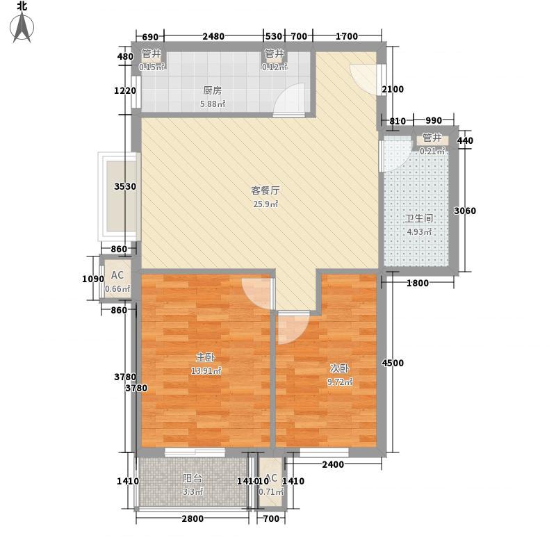 壹品天城38#E2户型2室2厅1卫