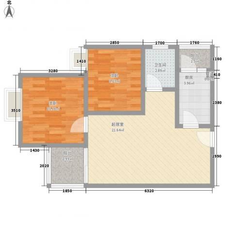 申烨太阳城三期2室0厅1卫1厨74.00㎡户型图