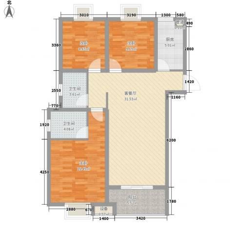 晟地润园3室1厅2卫1厨114.00㎡户型图