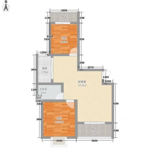 万宇荣盛阳光苑2室0厅1卫1厨91.00㎡户型图