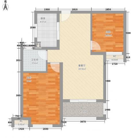 绿地滨湖国际花都2室1厅1卫1厨84.00㎡户型图