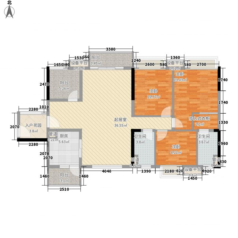 美的翰城145.00㎡7座02户型3室2厅2卫1厨