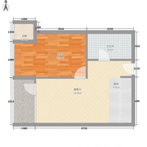 大西洋新城C区1室1厅1卫0厨66.00㎡户型图