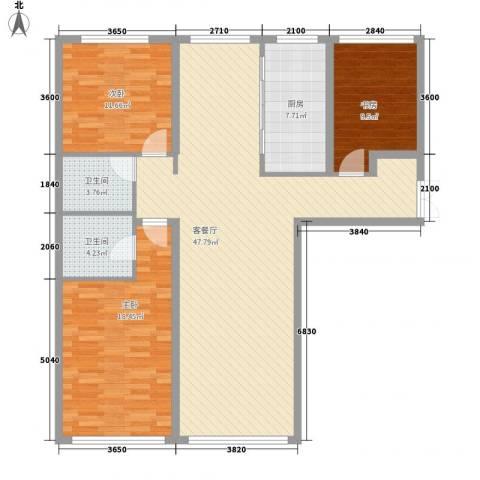 善上居3室1厅2卫1厨103.09㎡户型图
