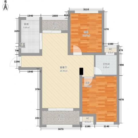 绿地滨湖国际花都2室1厅1卫1厨94.00㎡户型图