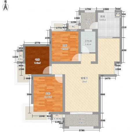 绿地滨湖国际花都3室1厅1卫1厨110.00㎡户型图