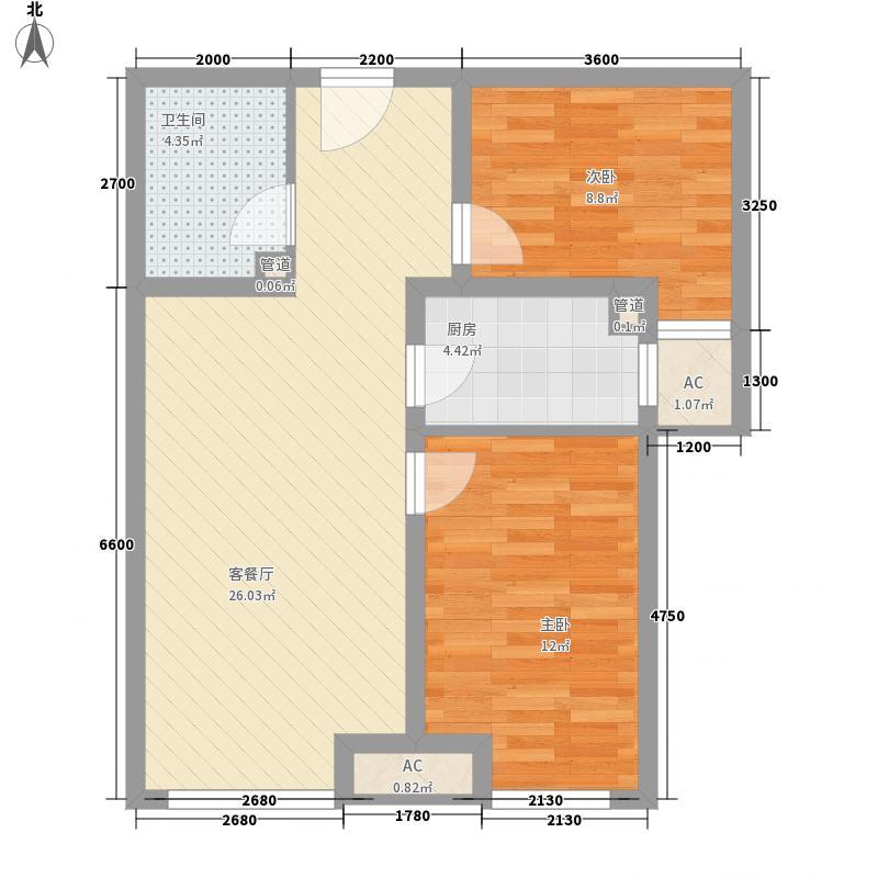 首尔甜城77.00㎡一期29号楼B17户型2室2厅1卫1厨