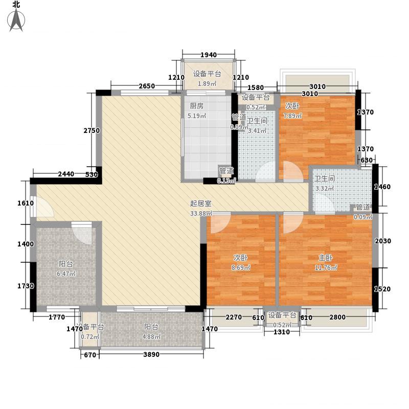 美的翰城127.63㎡2座04户型3室2厅2卫1厨