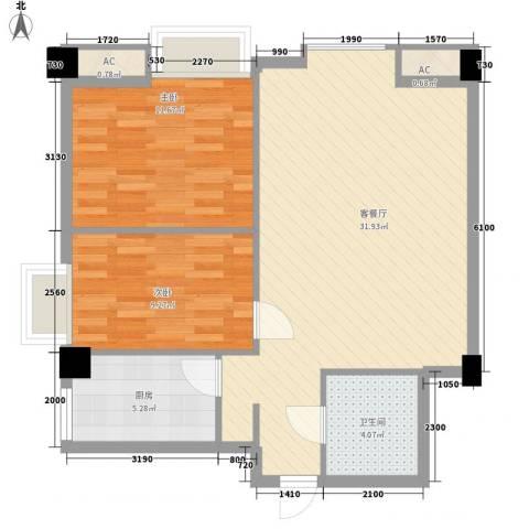 东泰城市之光2室1厅1卫1厨85.00㎡户型图