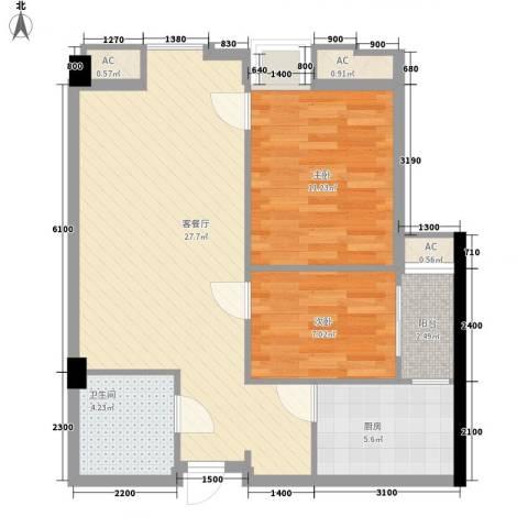 东泰城市之光2室1厅1卫1厨79.00㎡户型图