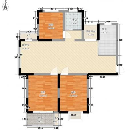 富建洲际逸品3室1厅1卫1厨83.58㎡户型图