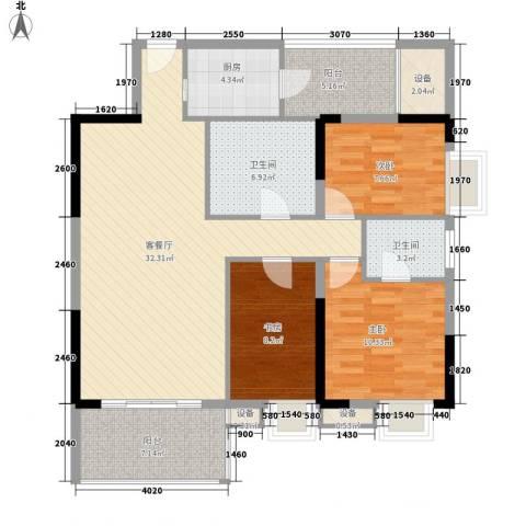 金丰大厦3室1厅2卫1厨125.00㎡户型图