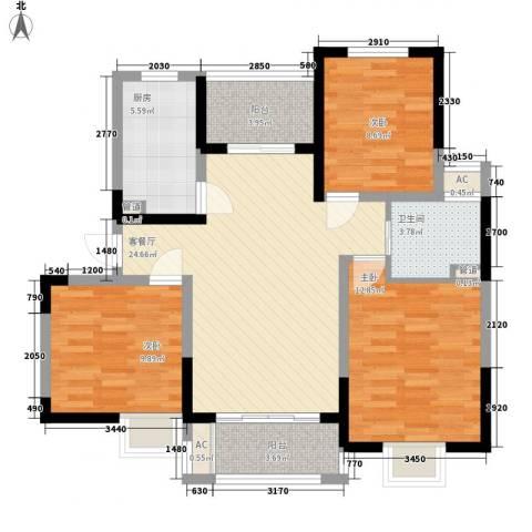 富建洲际逸品3室1厅1卫1厨74.34㎡户型图