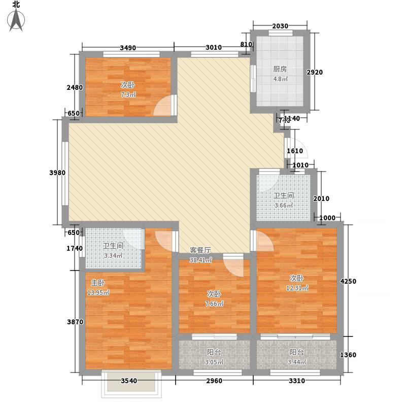 银都花园142.00㎡E户型4室2厅2卫1厨