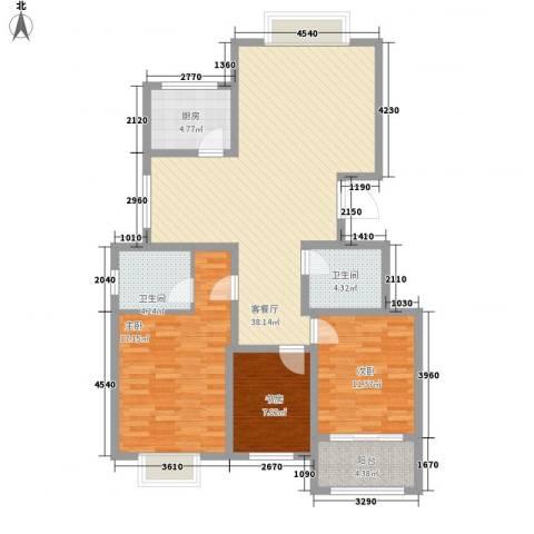 银都花园3室1厅2卫1厨131.00㎡户型图