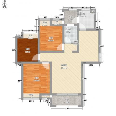 绿地滨湖国际花都3室1厅1卫1厨108.00㎡户型图