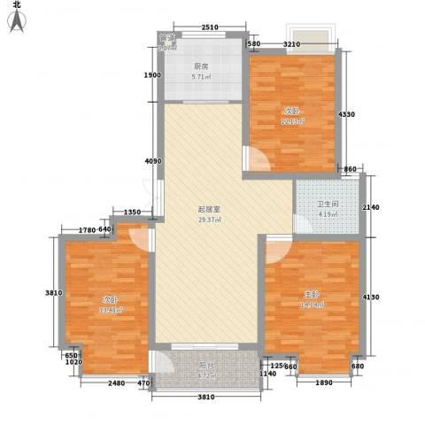新城府翰苑3室0厅1卫1厨95.00㎡户型图