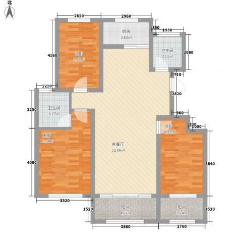 银都花园3室1厅2卫1厨122.00㎡户型图