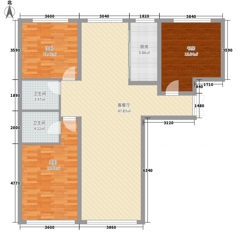 善上居5.25㎡9号楼17号楼L1户型3室2厅2卫1厨